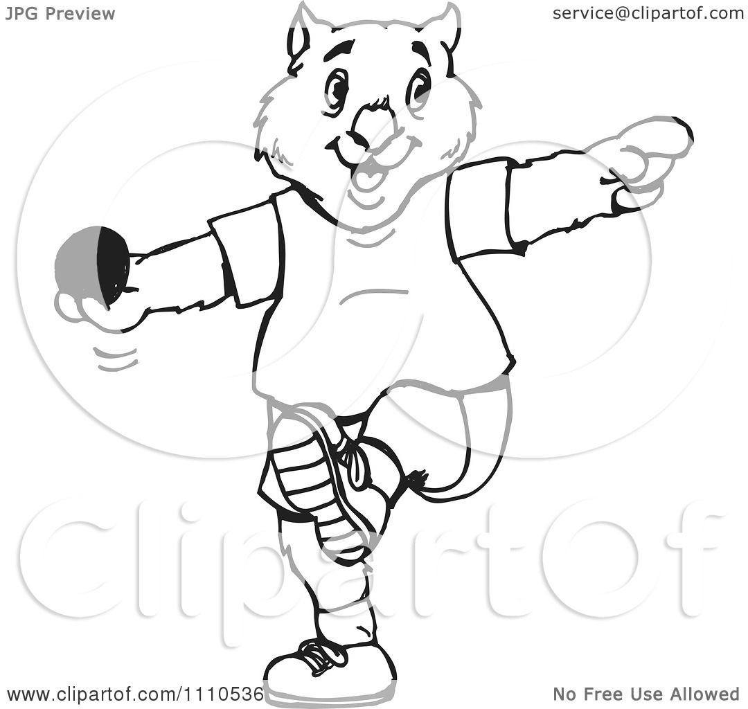 Shot Put Clip Art http://www.clipartof.com/portfolio/djholmes/illustration/black-and-white-aussie-wombat-throwing-a-shot-put-1110536.html
