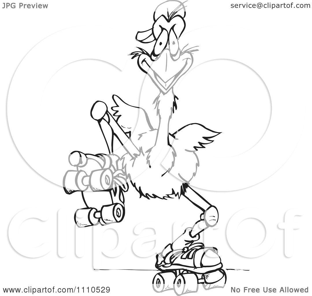 clipart black and white australian emu roller skating royalty free vector illustration by. Black Bedroom Furniture Sets. Home Design Ideas