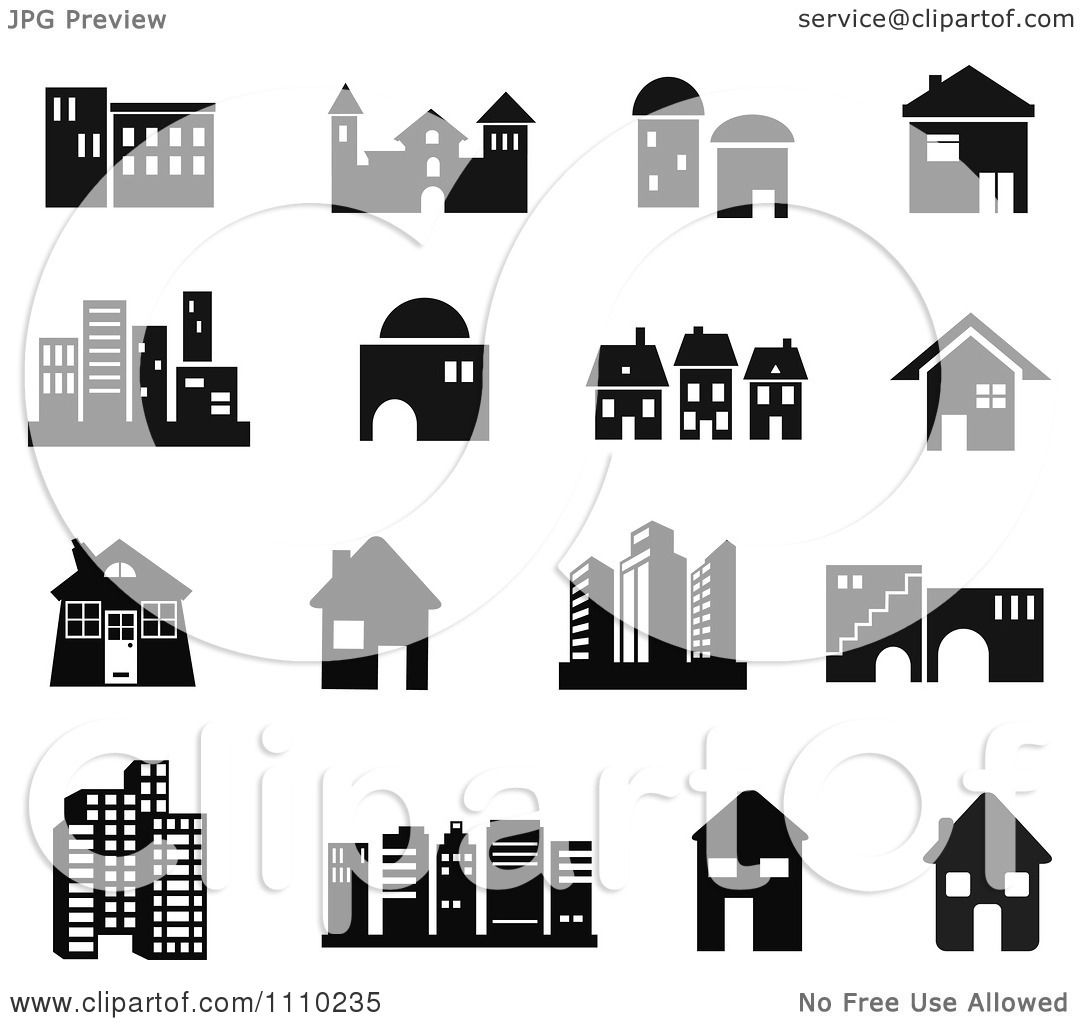 Clipart Black And White Building Icons - Royalty Free Vector Illustration by Prawny #1110235