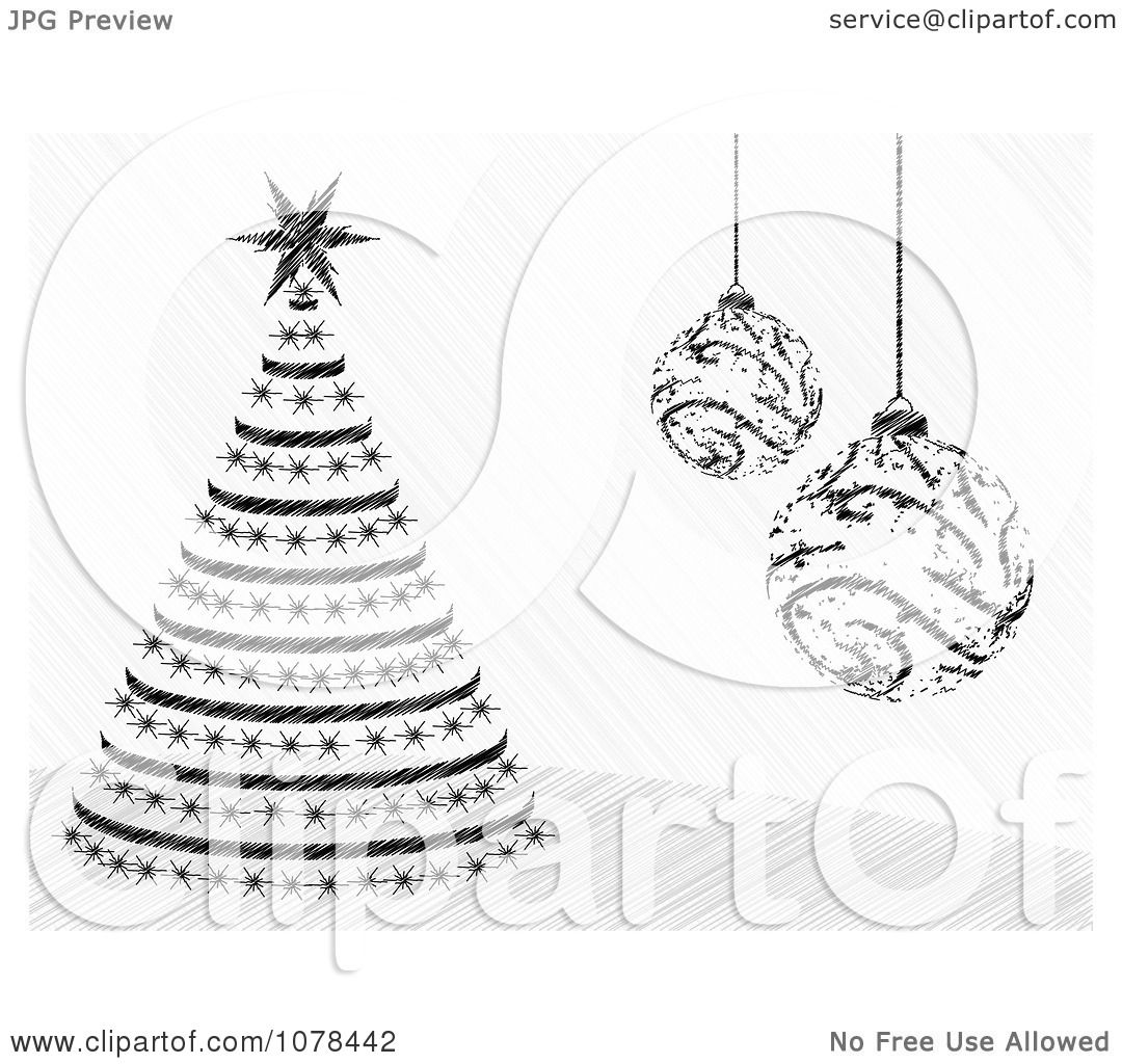 Clipart black and white christmas baubles and a christmas for White christmas baubles