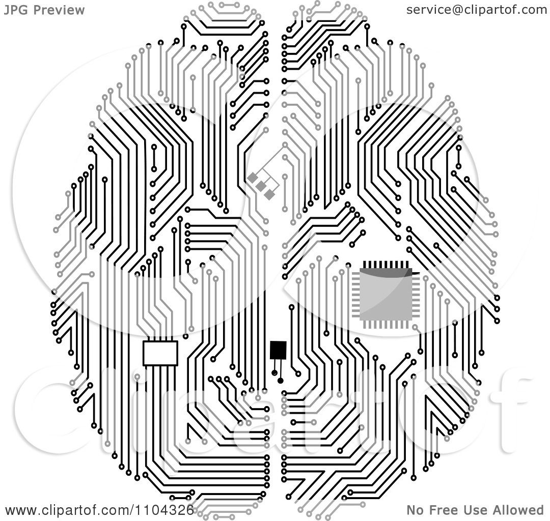 clipart black and white circuit brain with a computer chip