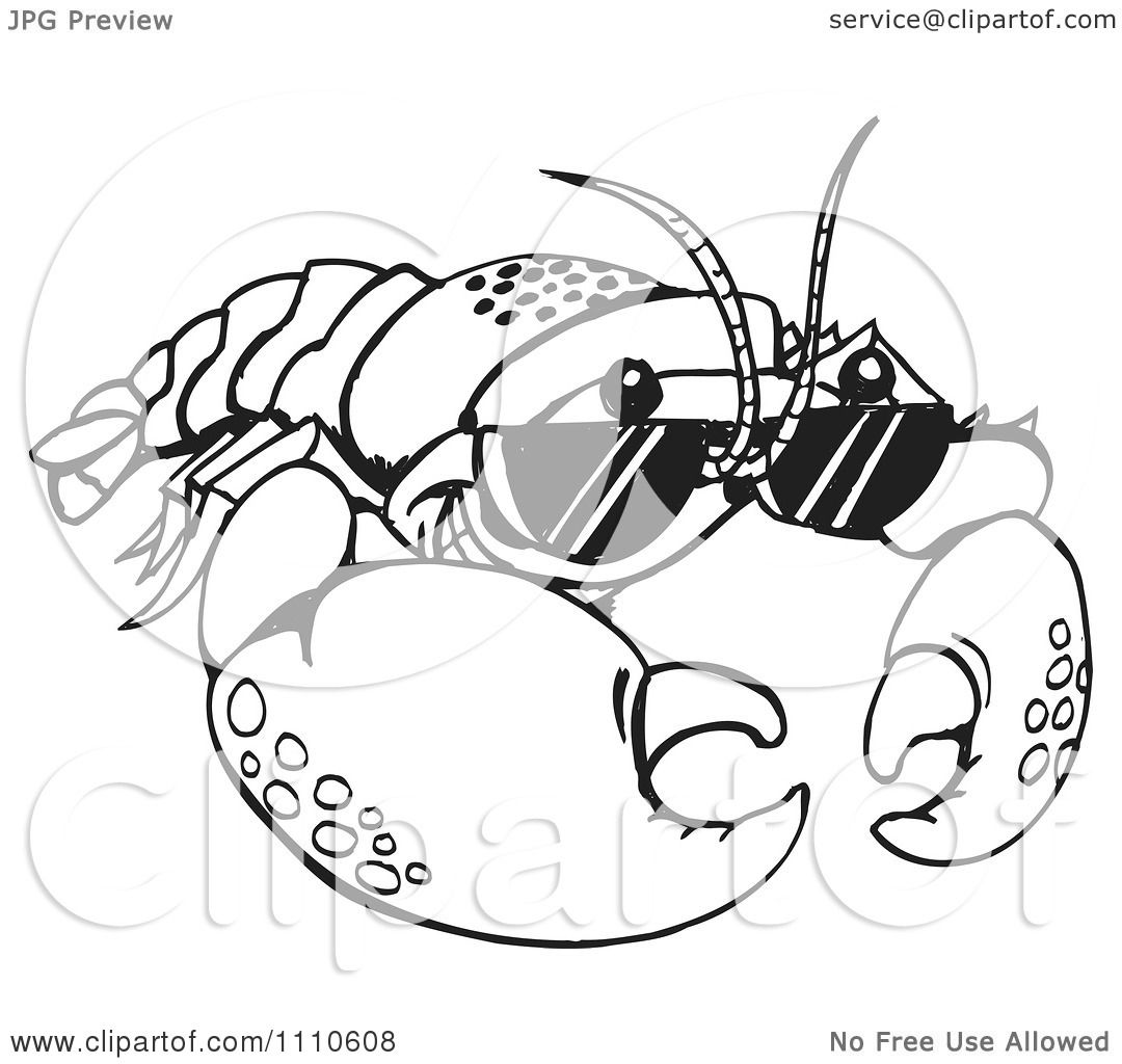 Clipart Black And White Crayfish Wearing Sunglasses ...