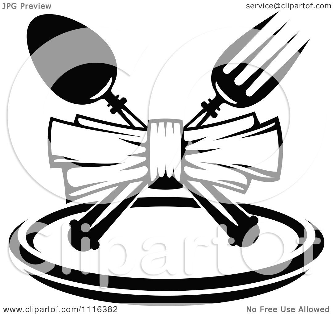clipart black and white dining and restaurant menu silverware and