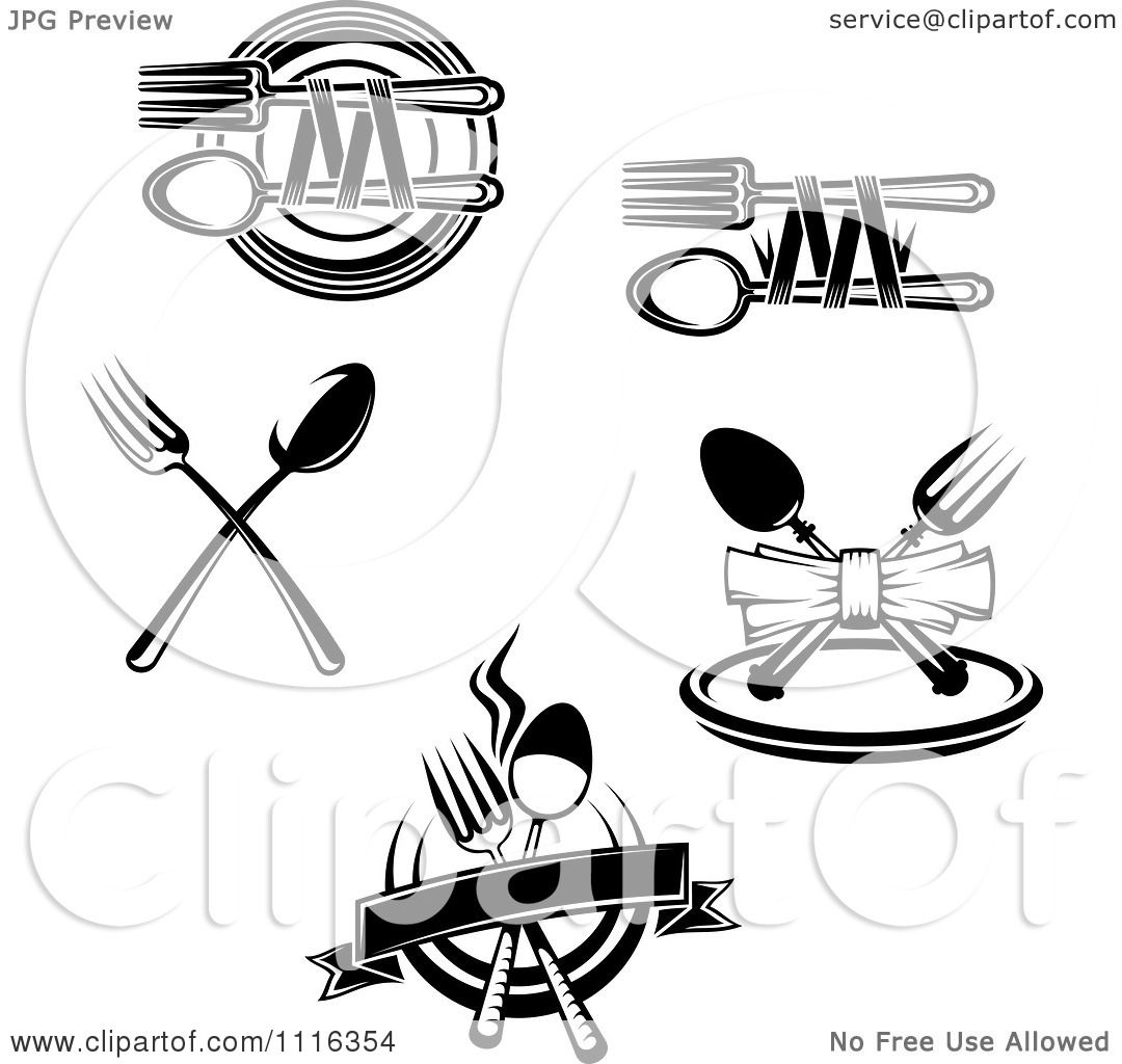 Clipart Black And White Dining And Restaurant Silverware