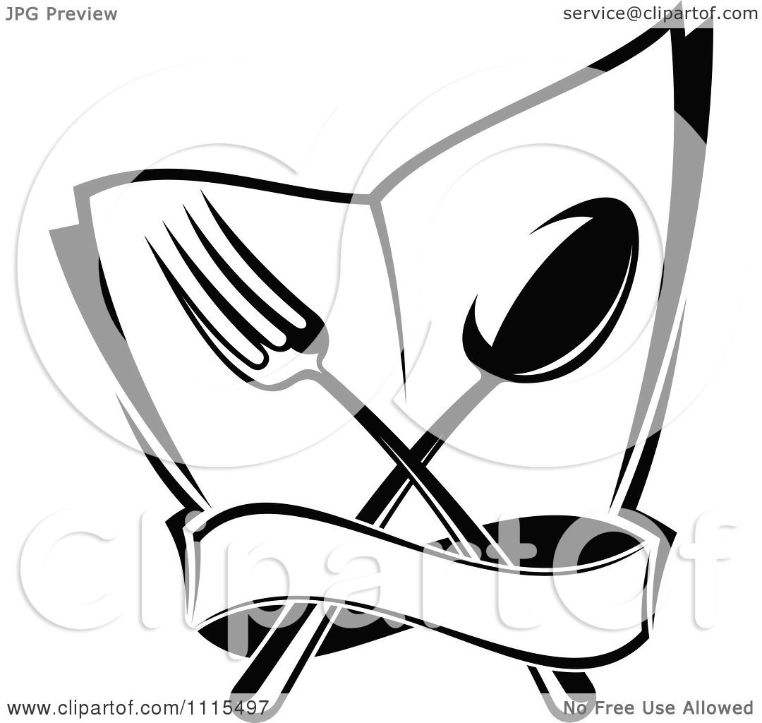 clipart black and white dining and restaurant silverware menu logo 3