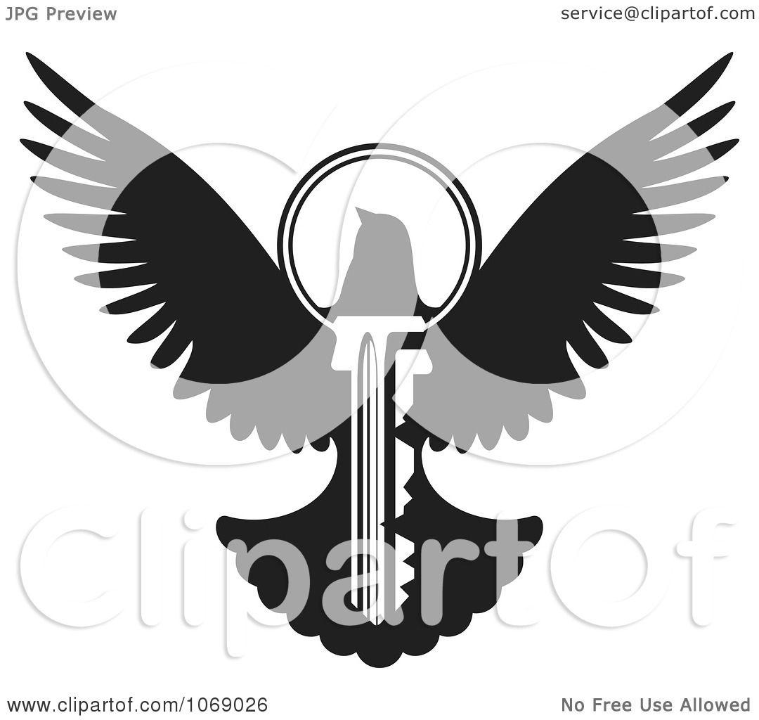 Vector Key Illustration: Clipart Black And White Dove Key