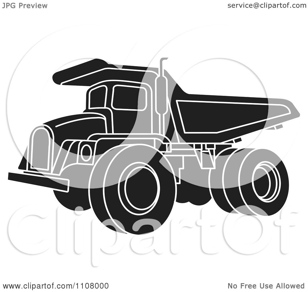Clipart Black And White Dump Truck 1 Royalty Free Vector