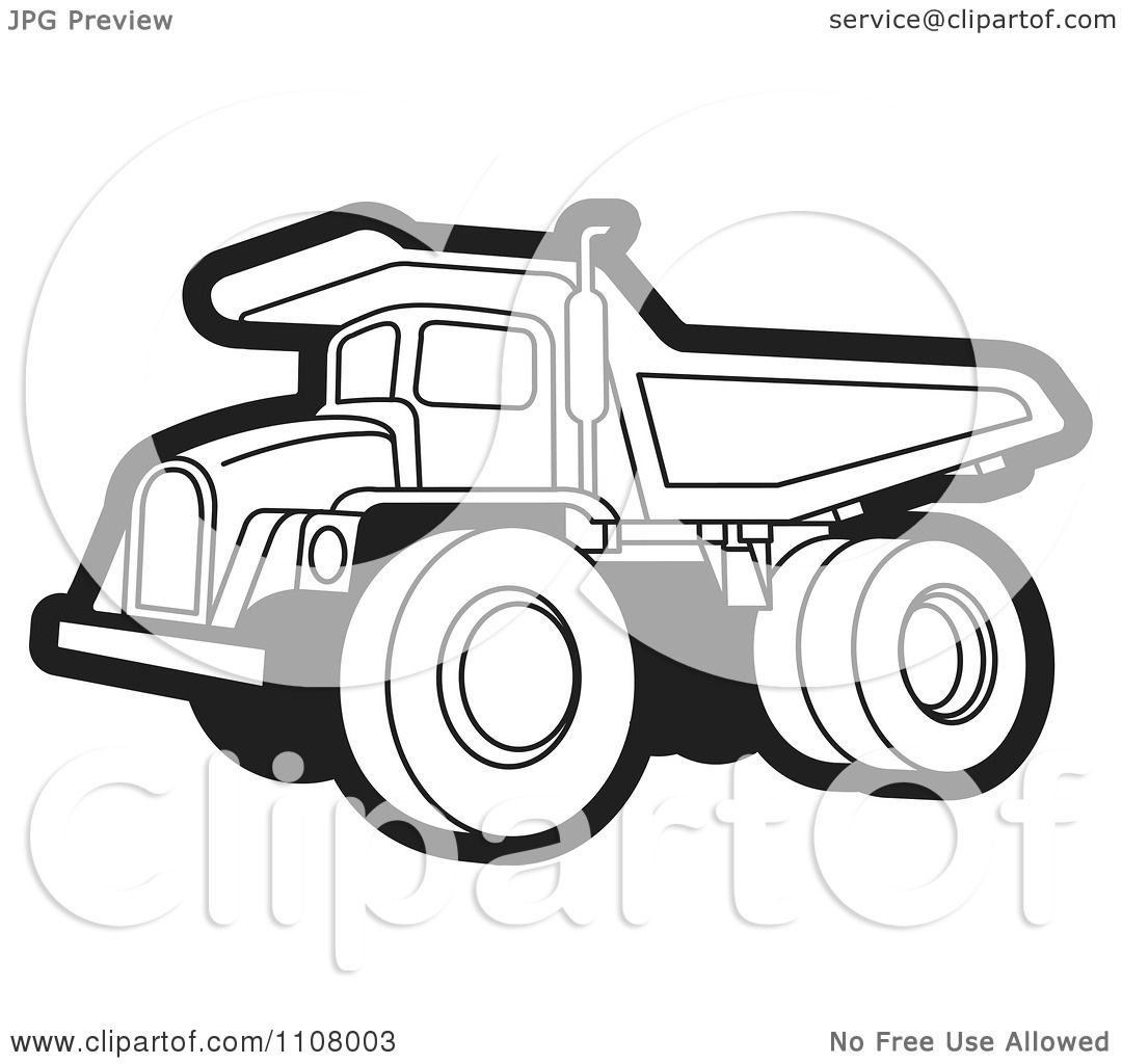 Clipart Black And White Dump Truck 2 Royalty Free Vector