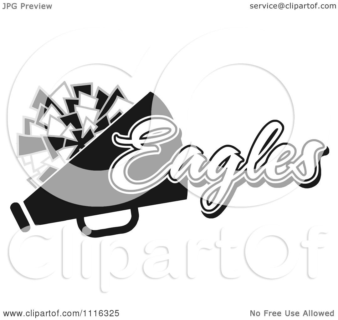 Clipart Black And White Eagles Cheerleader Design