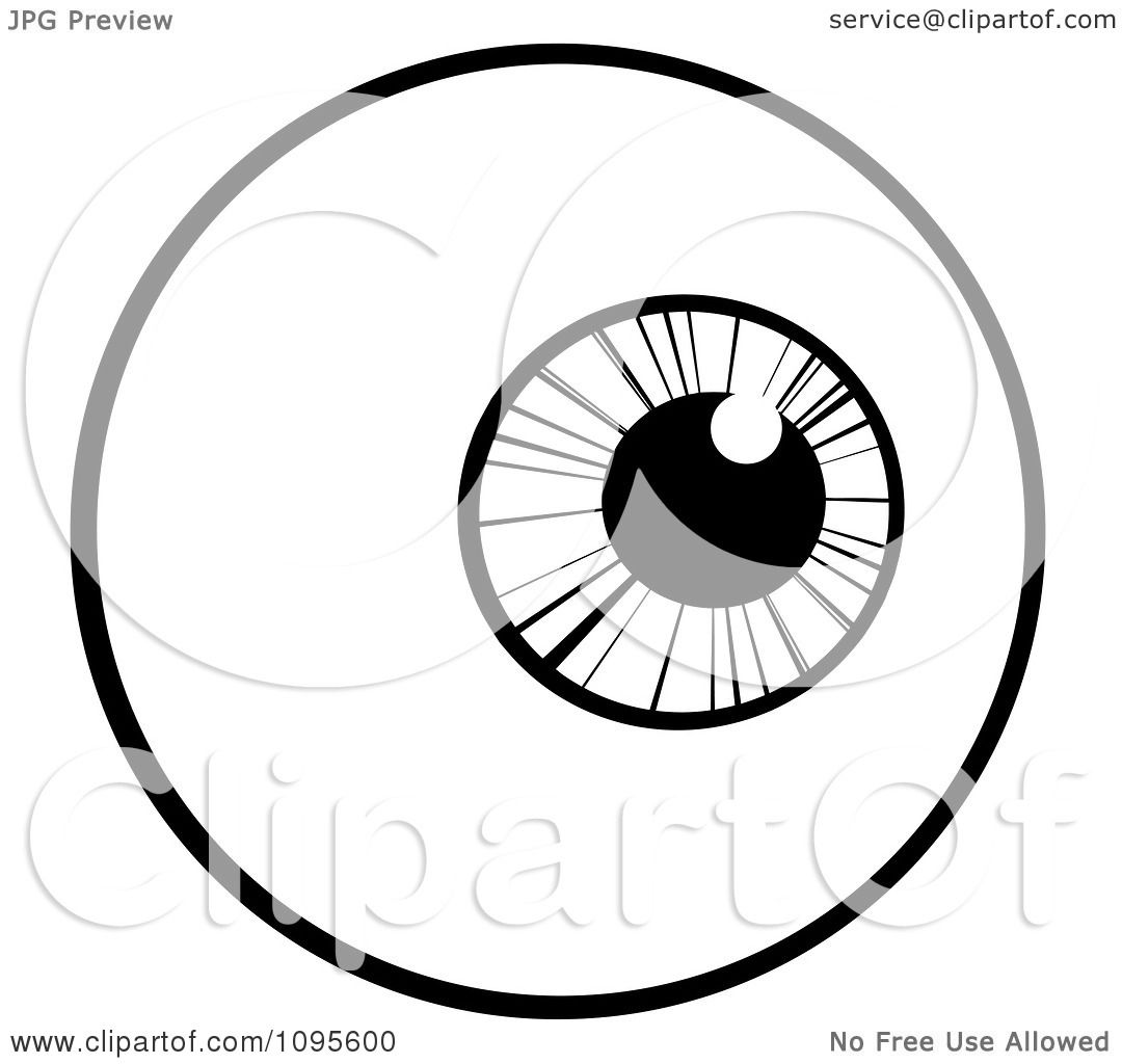 Clipart Black And White Eyeball Looking Right Royalty
