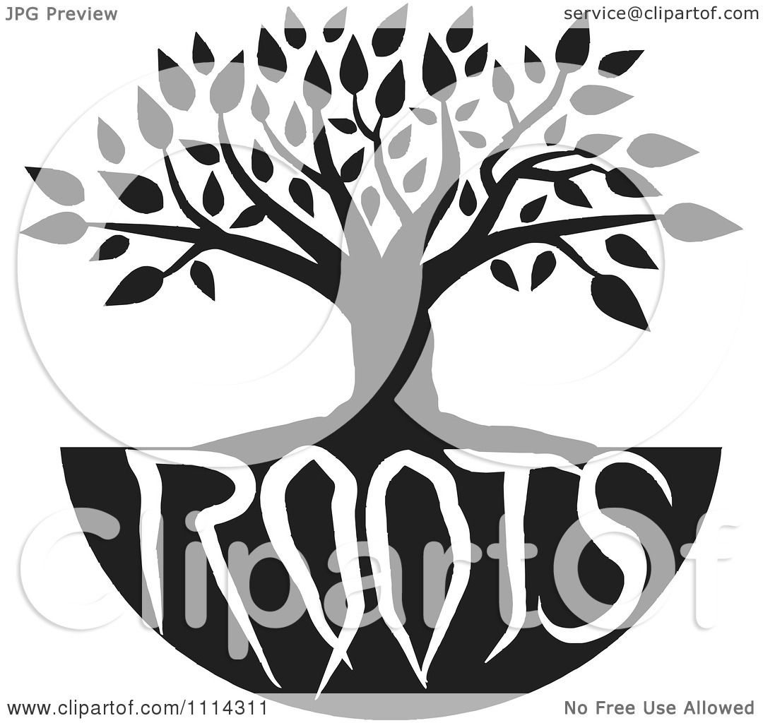clipart black and white family tree with roots text
