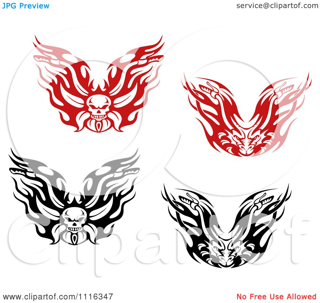Motorcycle clip art with flames - Clipart Black And White Flaming Skull And Demon Motorcycle Biker Handlebars Royalty Free Vector Illustration By Vector Tradition Sm
