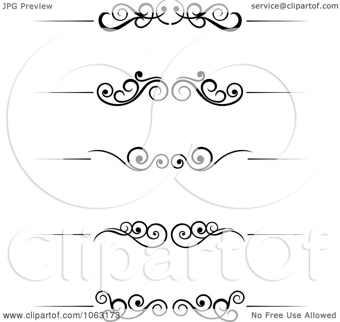 Clipart  Black  And  White  Flourish  Borders  Digital  Collage  Royalty  Free  Vector  Illustration