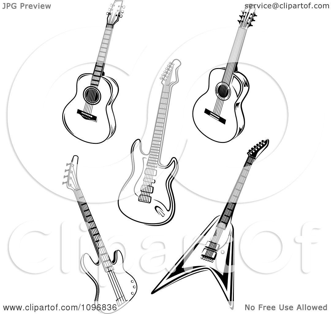 clipart black and white guitars