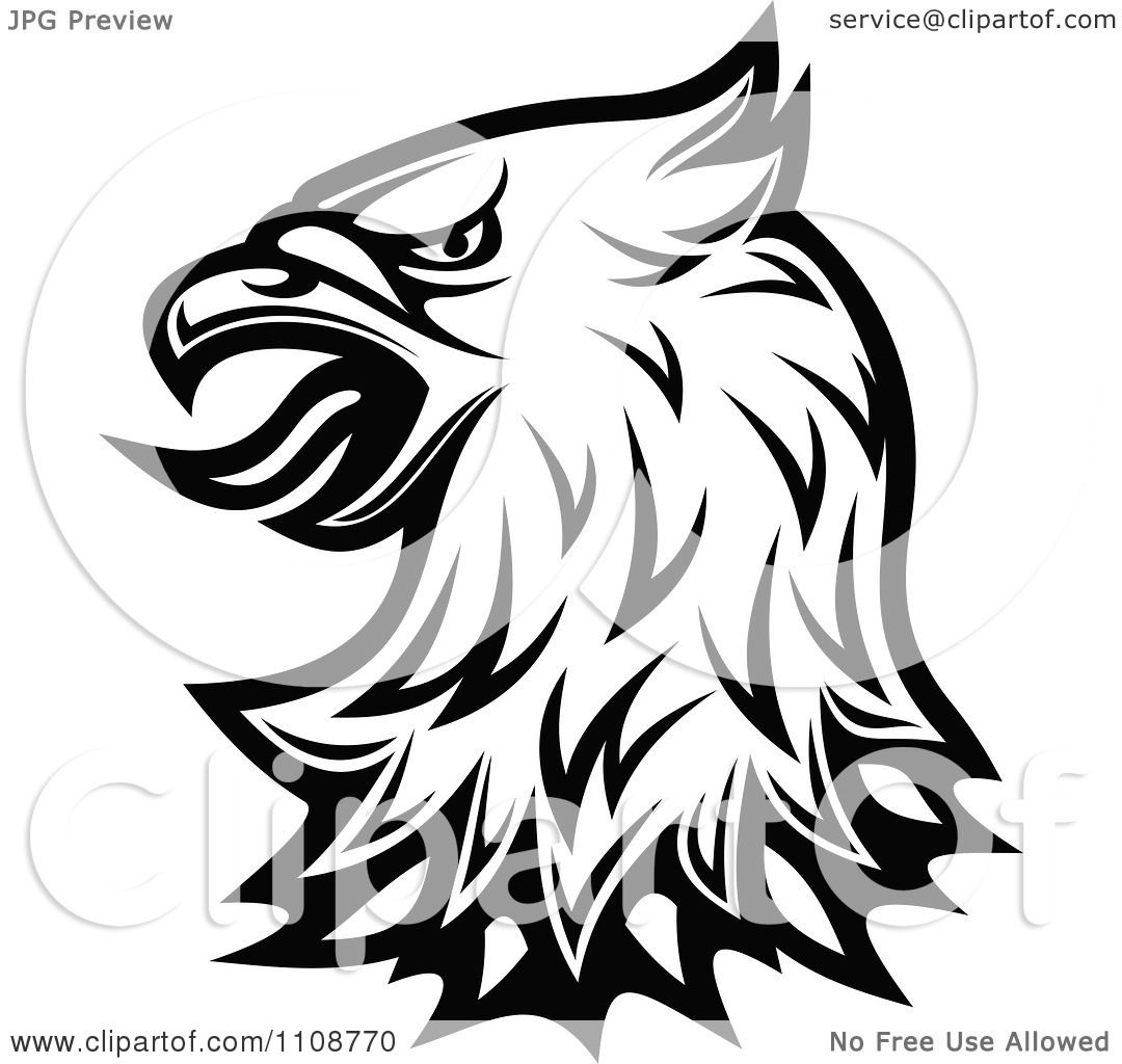 Clipart Black And White Heraldic Eagle Head 2 Royalty Free Vector