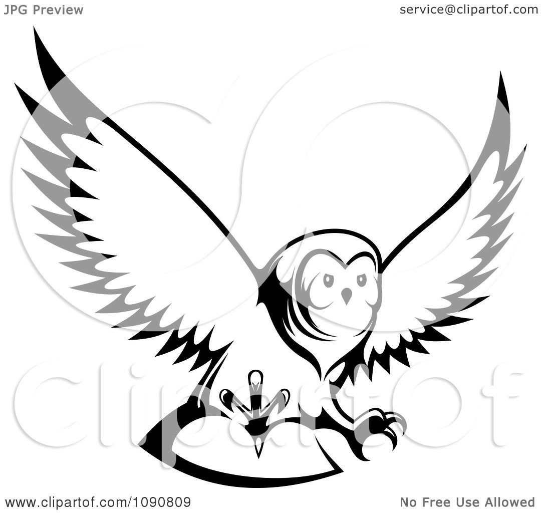 Clipart Black And White Hunting Owl Royalty Free Vector