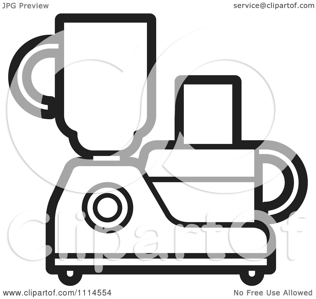 Clipart Black And White Kitchen Food Processor Or Blender - Royalty ...