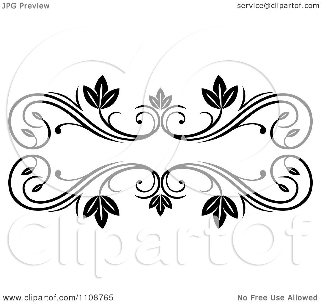 Clipart Black And White Leafy Floral Frame - Royalty Free Vector ...