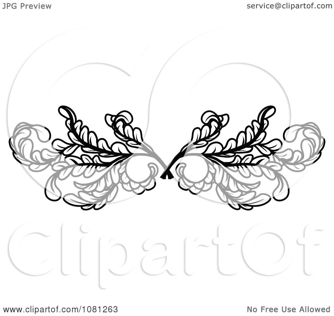 clipart black and white leafy swirl butterfly tattoo design element royalty free vector. Black Bedroom Furniture Sets. Home Design Ideas