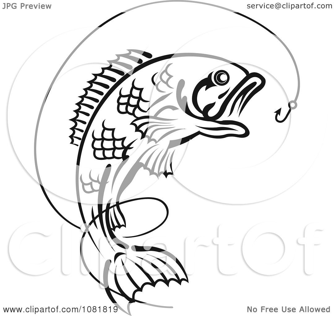 Clipart Black And White Leaping Fish Hook With Line Royalty Free Vector Illustration By