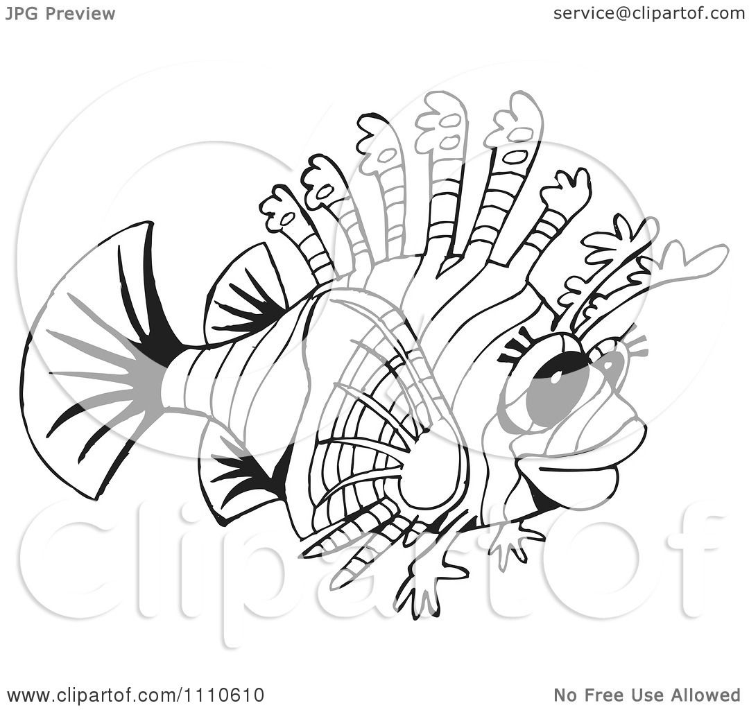 Clipart black and white lion fish royalty free vector for Lionfish coloring page