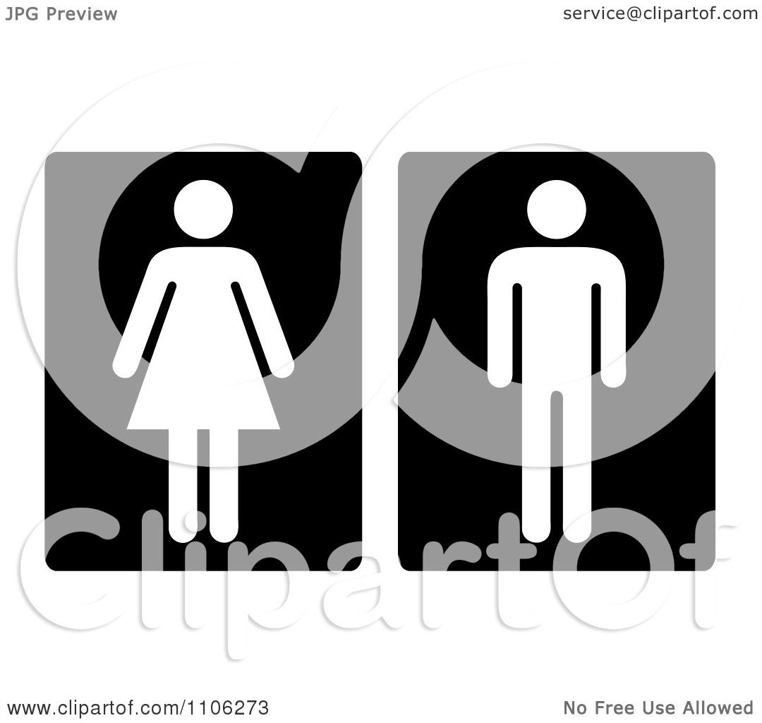 Bathroom Signs Clipart bathroom sign clipart black and white