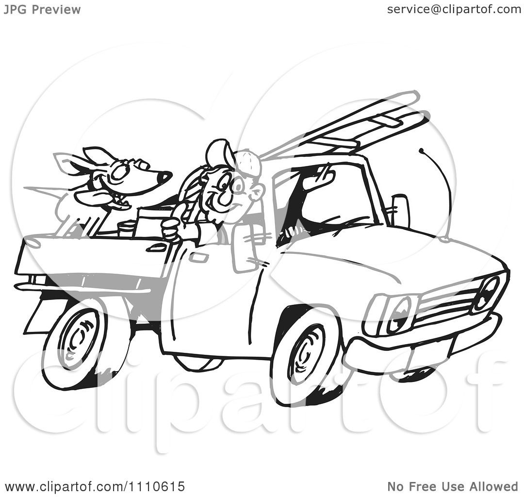 clipart black and white man driving his truck with a dog and ladder in the back royalty free. Black Bedroom Furniture Sets. Home Design Ideas