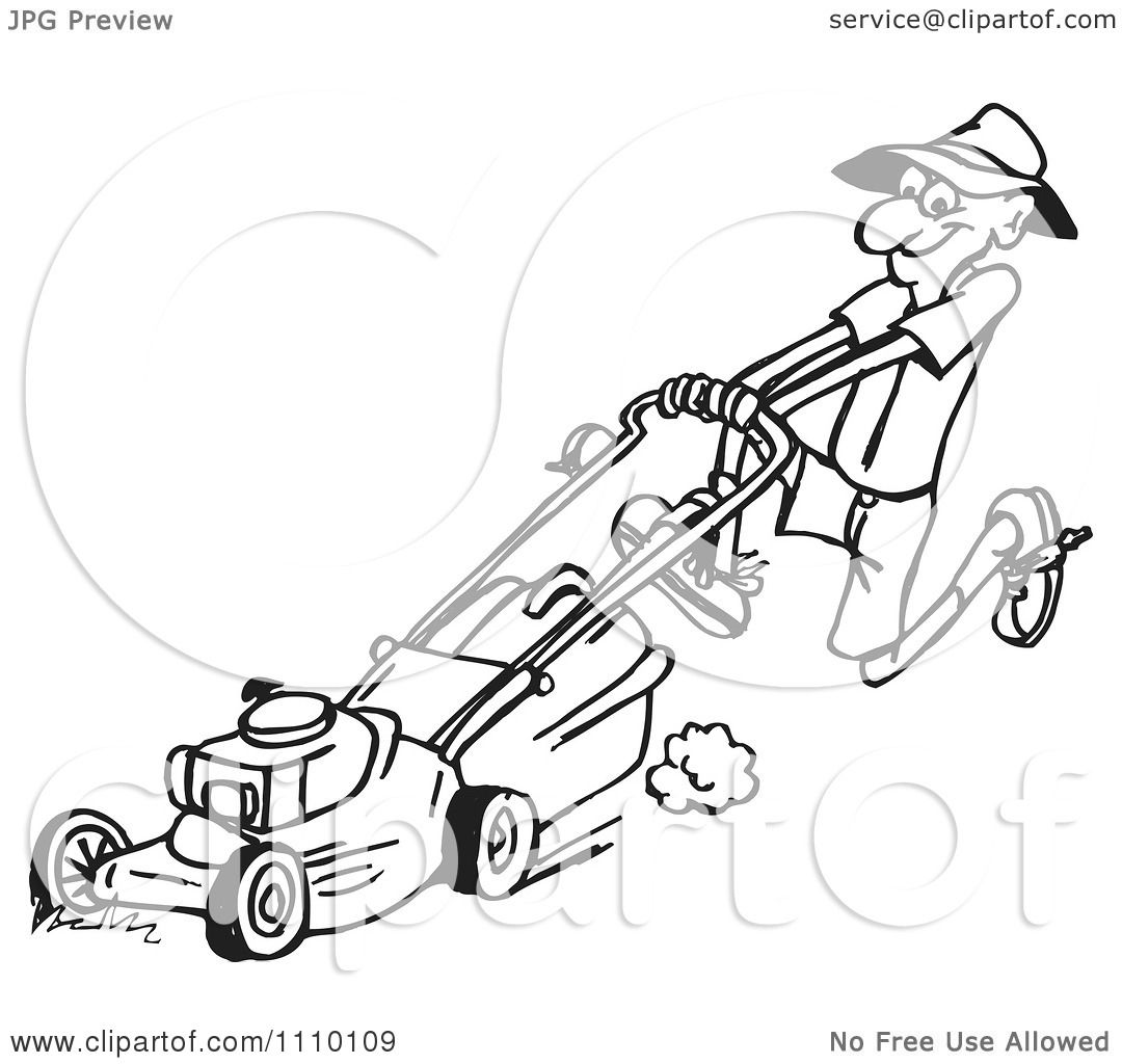 clipart black and white man pushin ga lawn mower 2 royalty free vector illustration by dennis. Black Bedroom Furniture Sets. Home Design Ideas