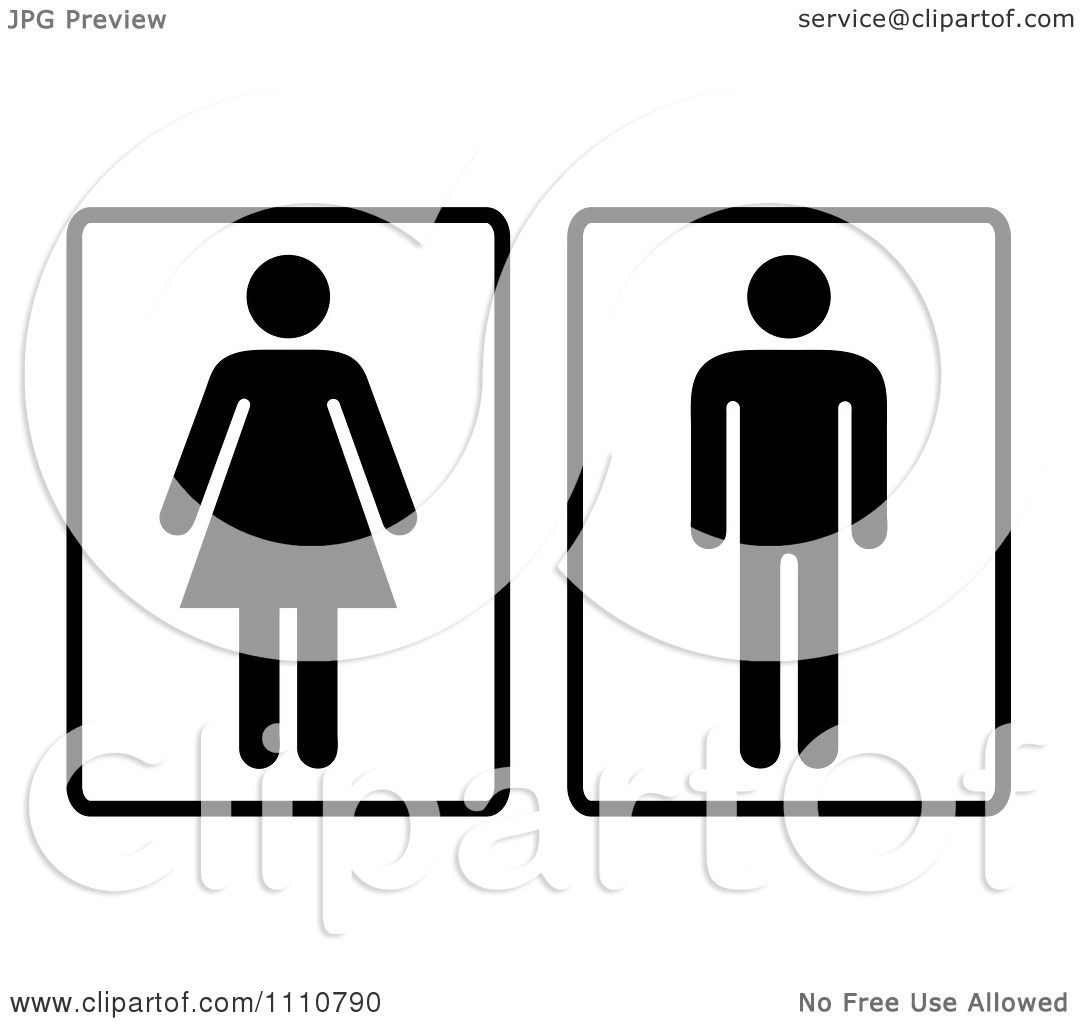 Black and White Restroom Signs Women