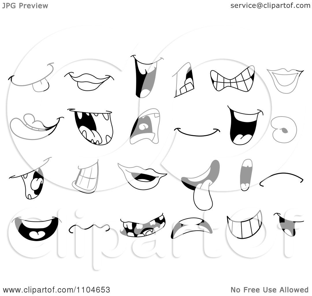 Clipart Black And White Mouths And Lips - Royalty Free ...