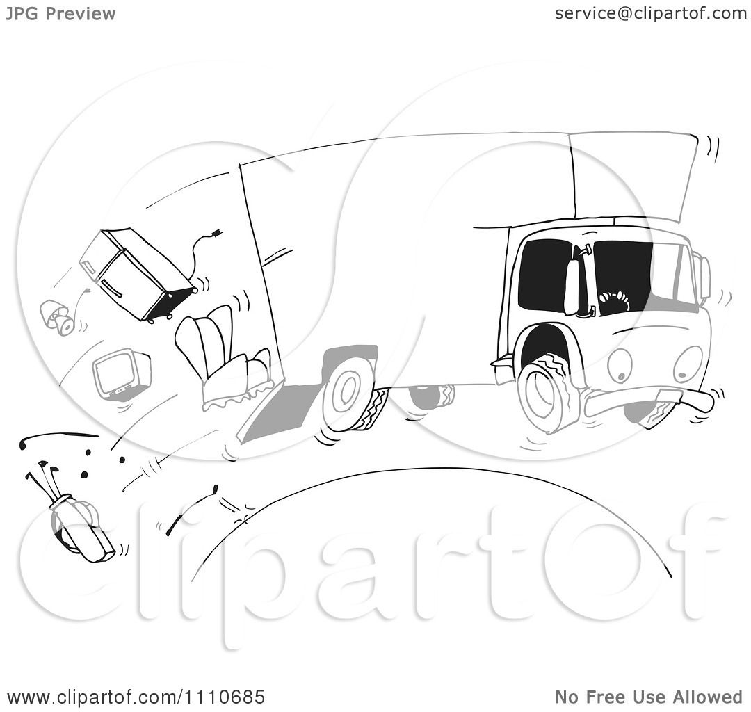 Clipart Black And White Moving Truck Losing Furniture ...
