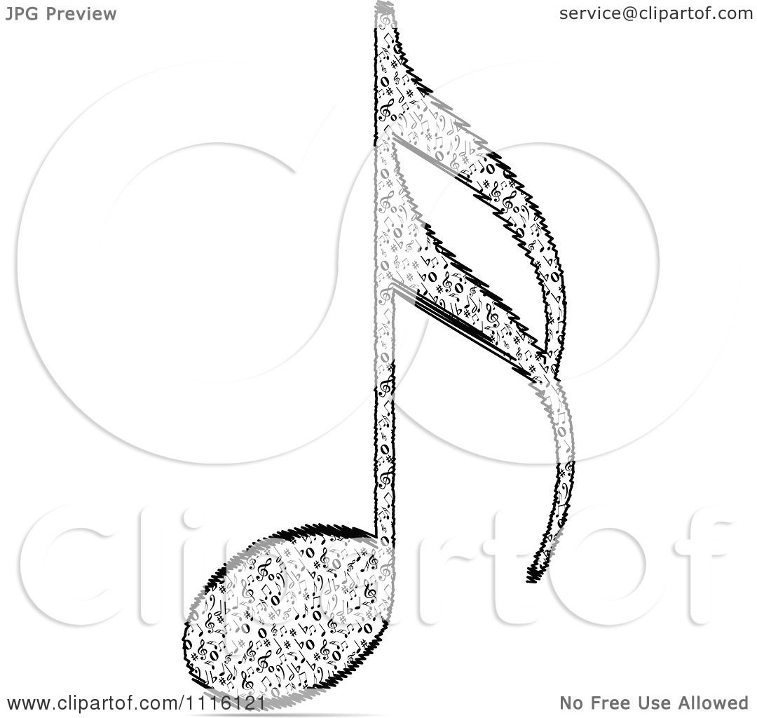 Clipart Black And White Music Note - Royalty Free Vector ...