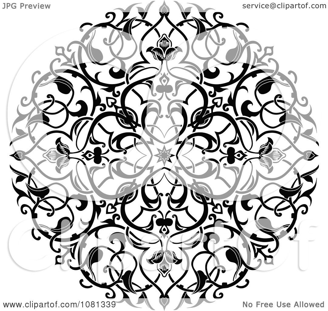 clipart black and white ornate floral circle tattoo design element royalty free vector. Black Bedroom Furniture Sets. Home Design Ideas