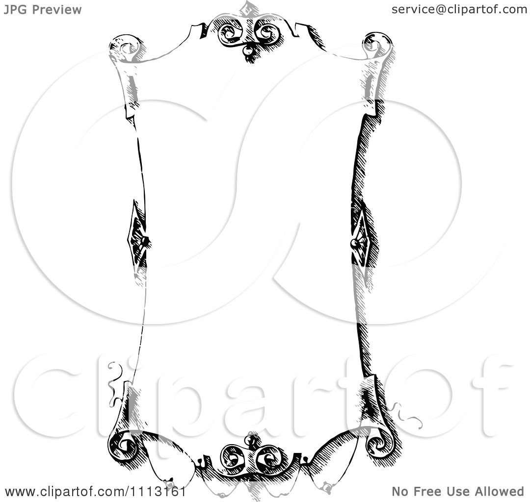 Antique Scroll Art: Clipart Black And White Ornate Vintage Scroll Frame