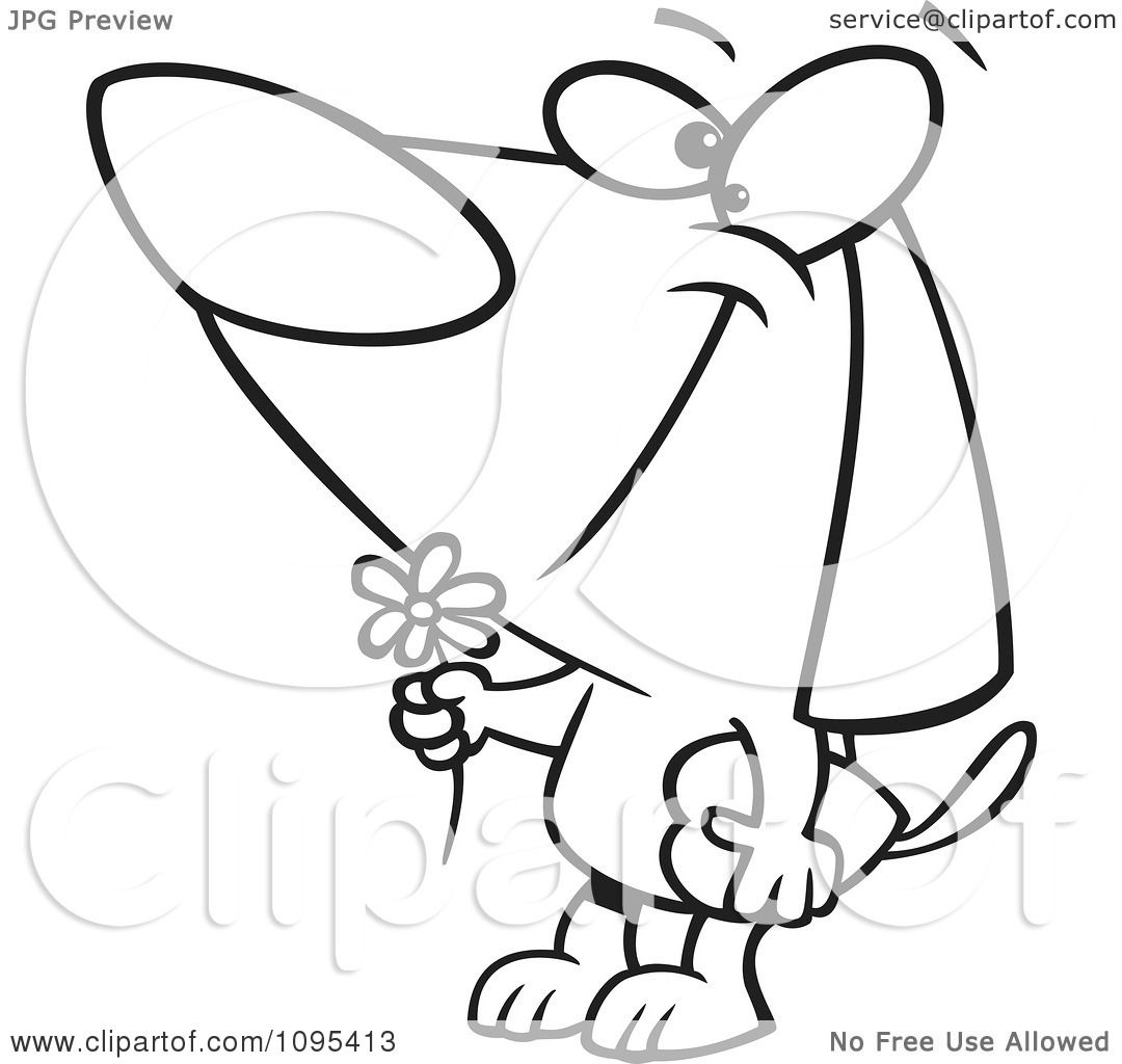 clipart black and white outline cartoon courting valentines day