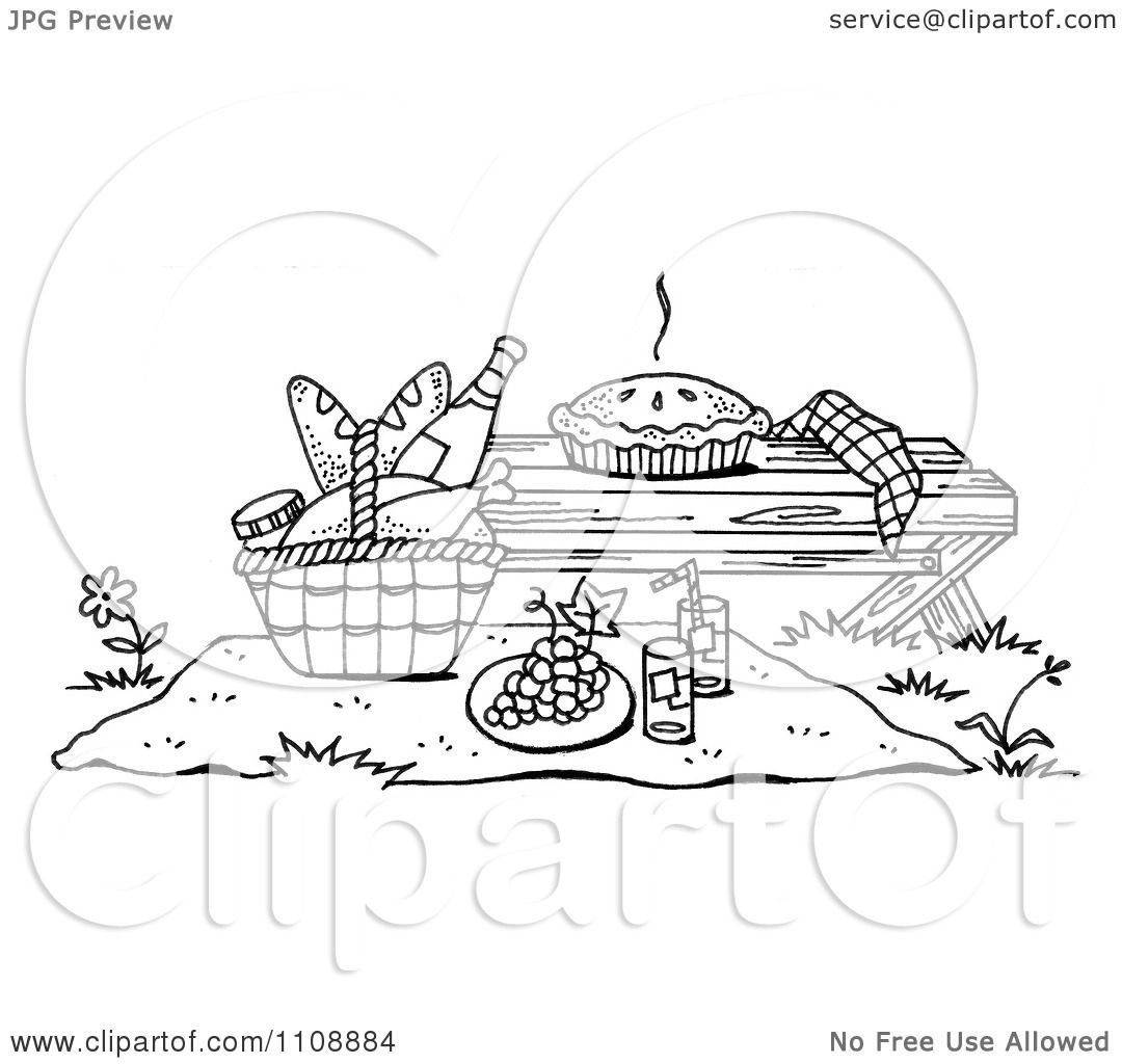 Clipart Black And White Picnic Scene With A Pie On A Bench