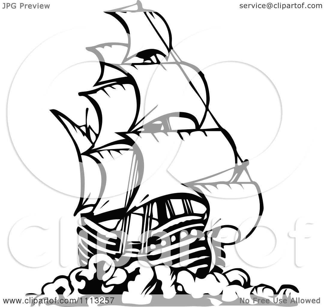 Pirate ship clip art black and white - photo#9