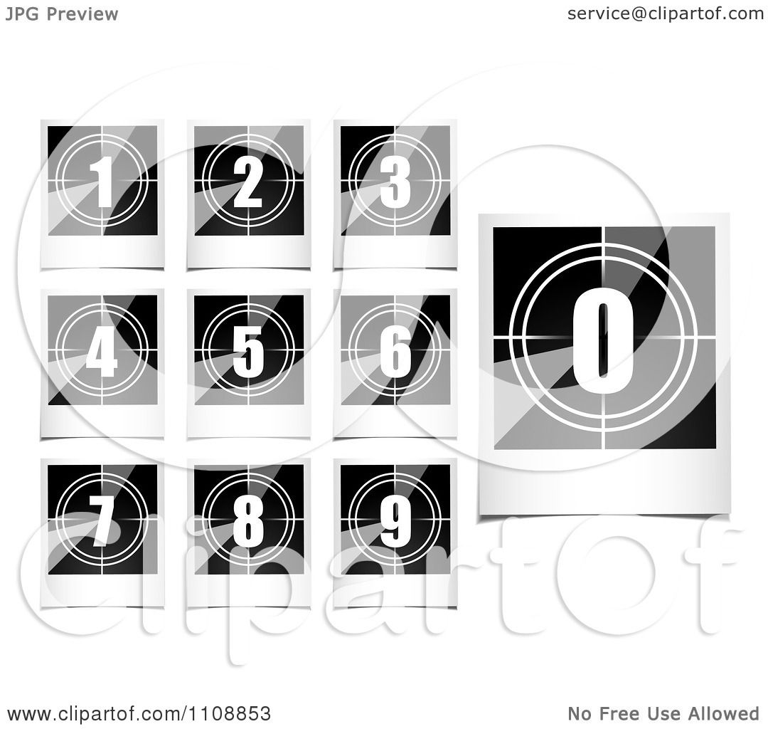 Clipart Black And White Polaroid Photo Count Down Numbers