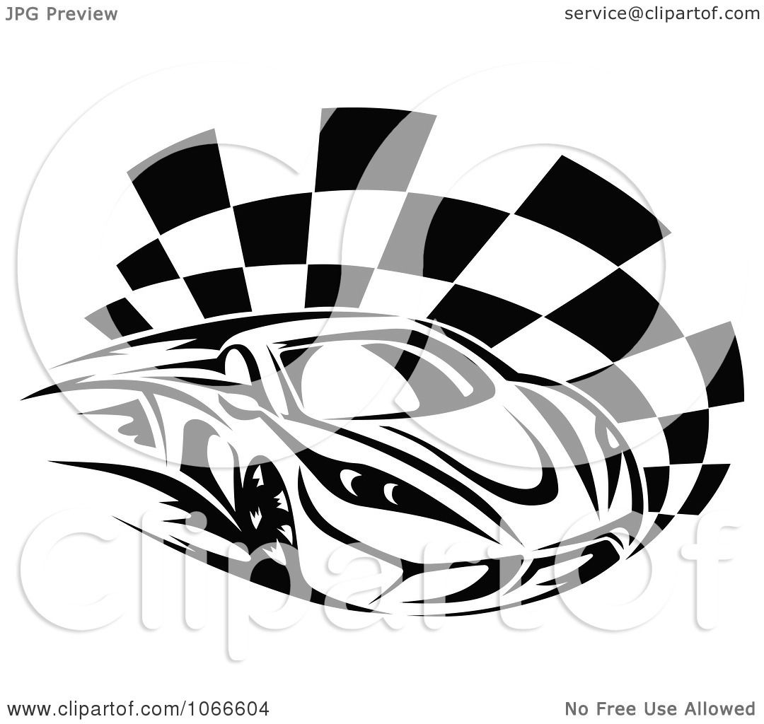 Clipart Black And White Race Car And Checkered Flag 1
