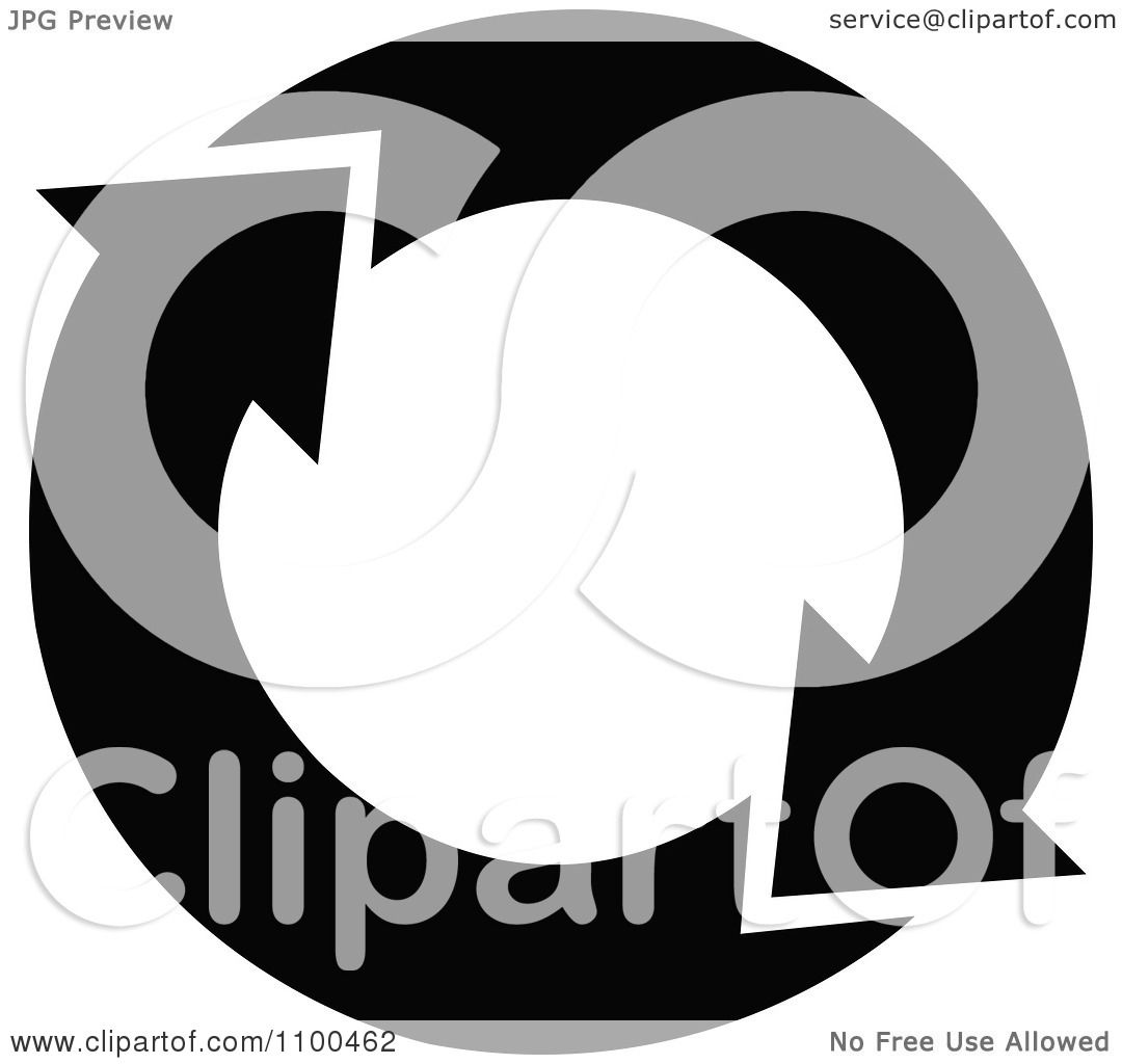 Clipart Black And White Recycle Arrows Flowing In A Circle ...