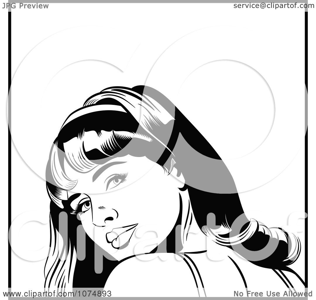 Clipart Black And White Retro Pop Art Woman Looking Back -6187