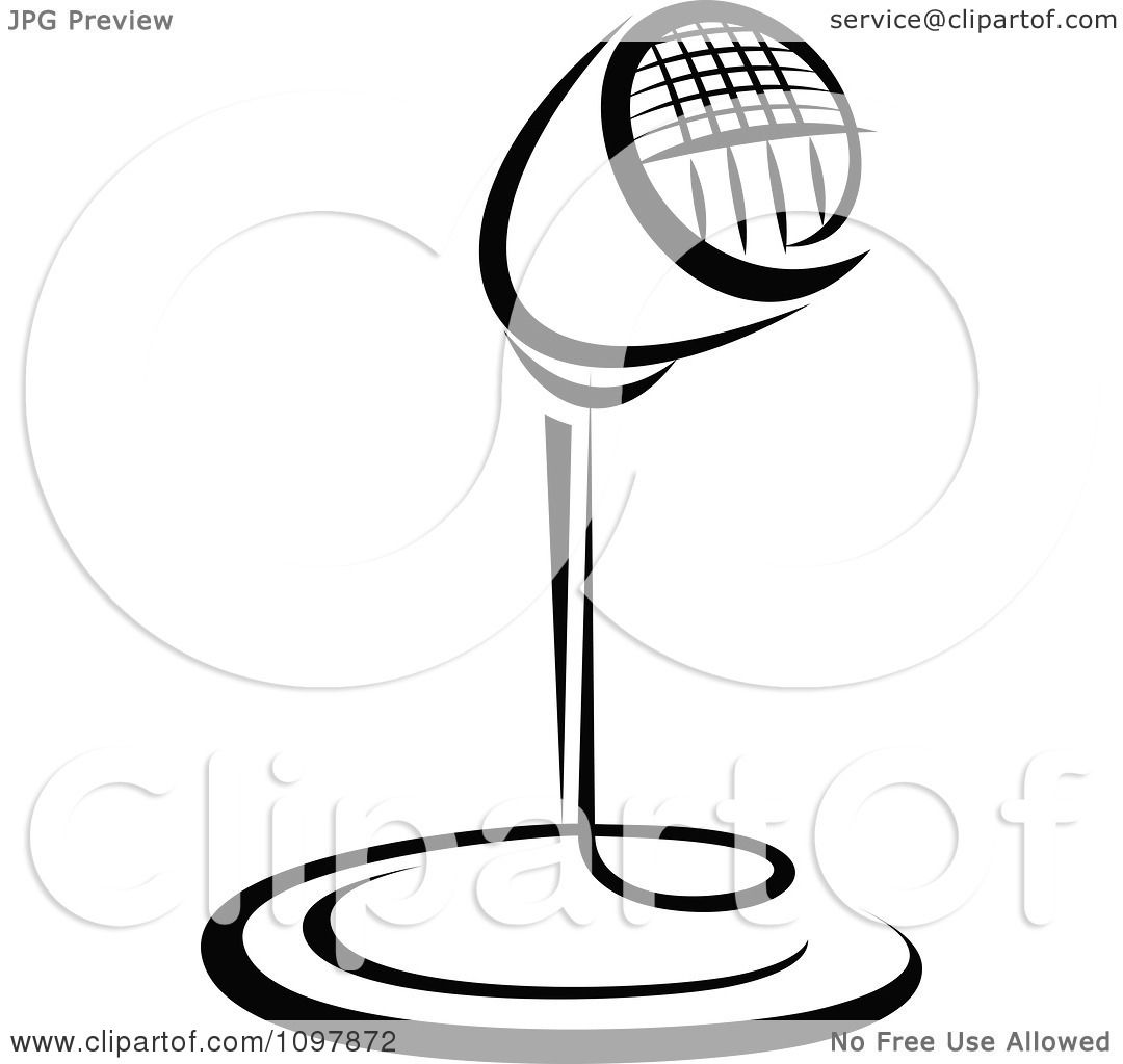 Clipart Black And White Retro Radio Desk Microphone 1 ...