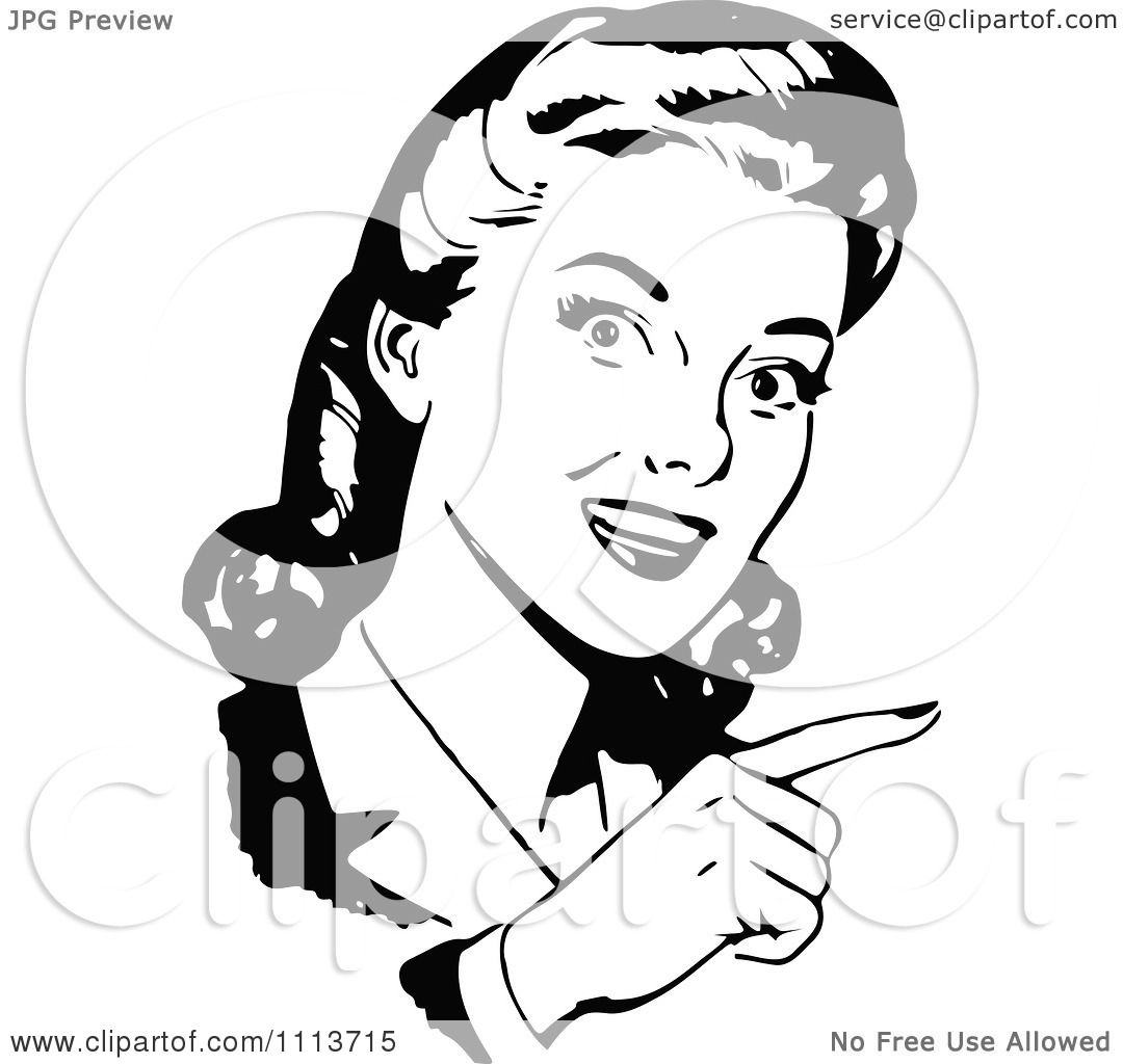 Clipart Black And White Retro Woman Pointing - Royalty ...