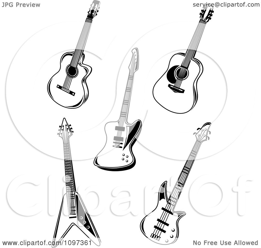 clipart black and white rock music guitars