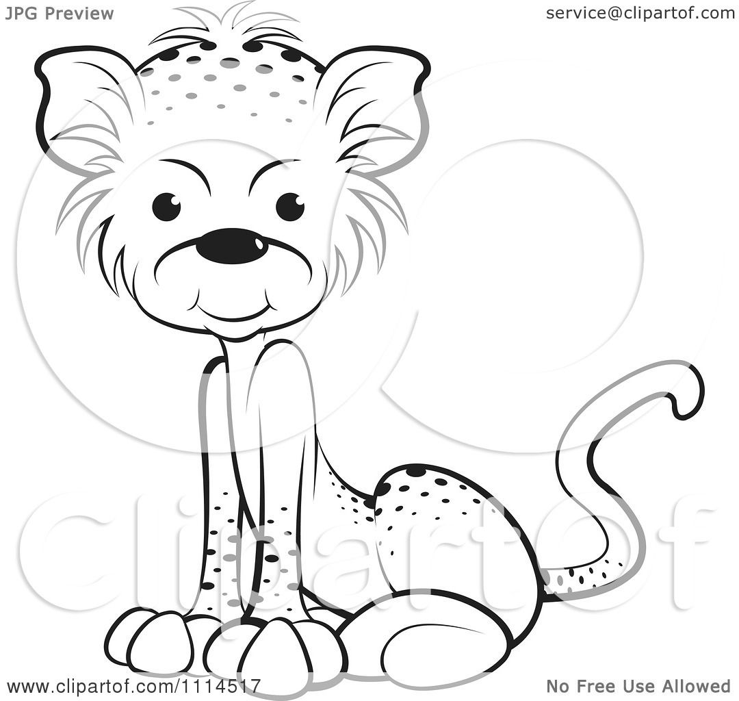 Clipart Black And White Sitting Leopard Cub - Royalty Free Vector ... for Leopard Clipart Black And White  111bof
