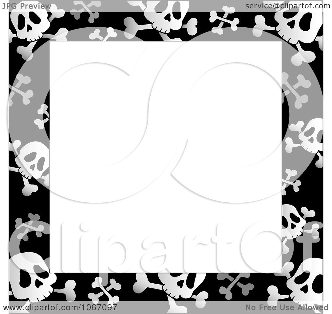 Clipart Black And White Skull And Crossbone Frame - Royalty Free ...