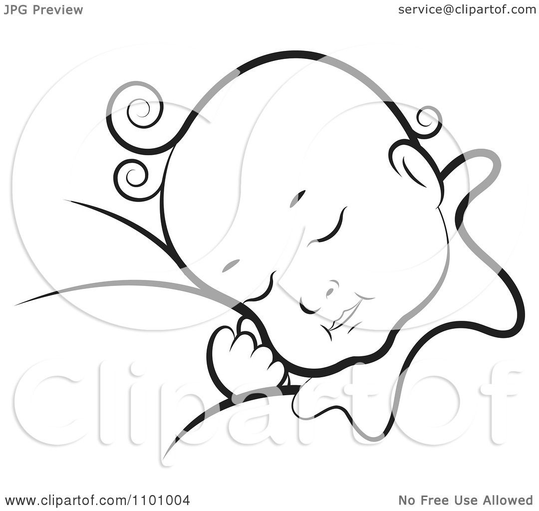 Clipart Black And White Sleeping Baby - Royalty Free ...