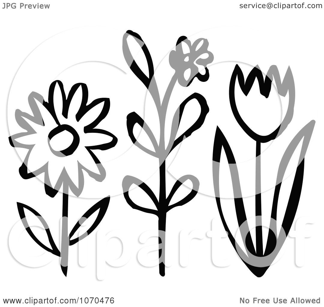 Clipart Black And White Spring Flowers - Royalty Free ...