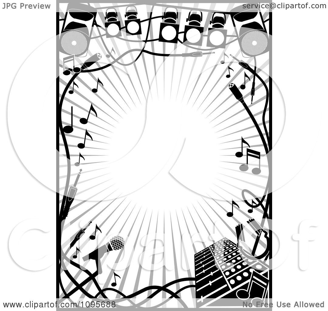 Clipart Black And White Stage Lighting And Music Frame - Royalty ...