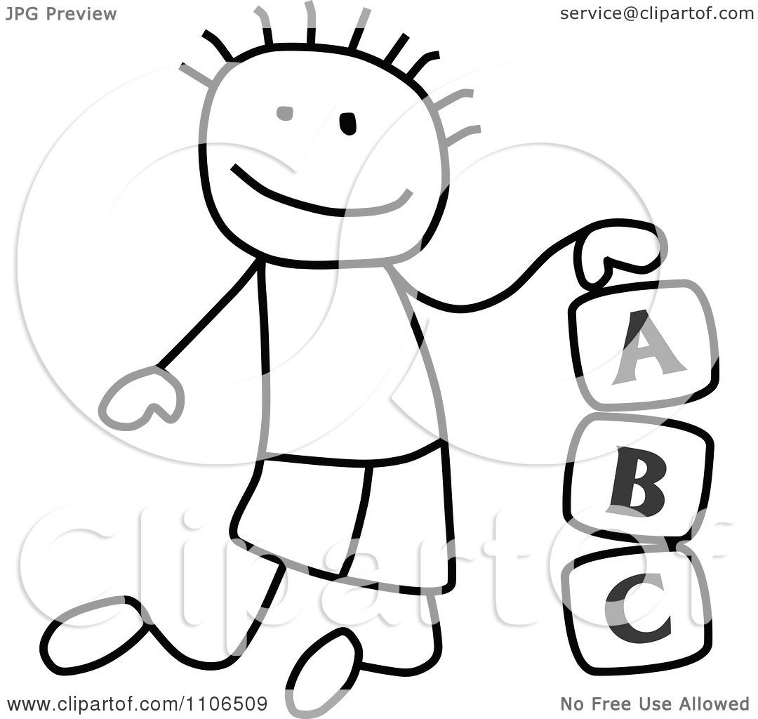 clipart black and white stick drawing of a boy playing